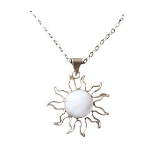 Sterling Silver Moonstone Sun Necklace